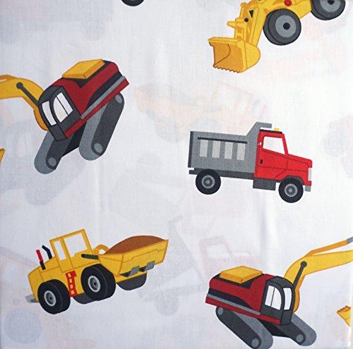 (Boy Zone 4 Piece Full Size Sheet Set Construction Vehicles Dump Trucks Back Hoes Bull Dozers)