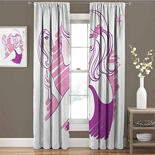 Zodiac Gemini for Bedroom Blackout Curtains Young Teenage Girl on Pink Looking at Herself in The Mirror Blackout Curtains for The Living Room W54 x L84 Inch Purple Pale Pink and White