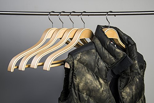 J.S. Hanger Heavy Duty Solid Wide Shoulder Wooden Suit Hangers Natural Finish, 5-Pack