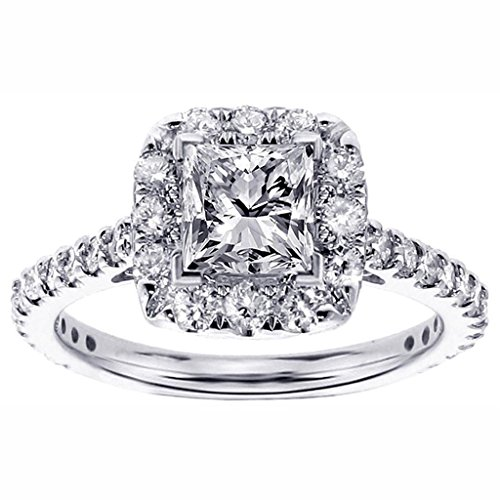 1.45 Ct Princess Diamond (1.45 CT TW Halo Princess Cut Diamond Engagement Ring in 18k White Gold - Size 12)