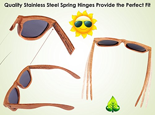 Wooden Polarized Sunglasses - Handmade Solid Real Dumu Wood Wayfarer Style w/Bamboo Case - 100% UV Protection - for Men and Women by Pelican Sunwear (brown, green) by Pelican Sunwear (Image #7)