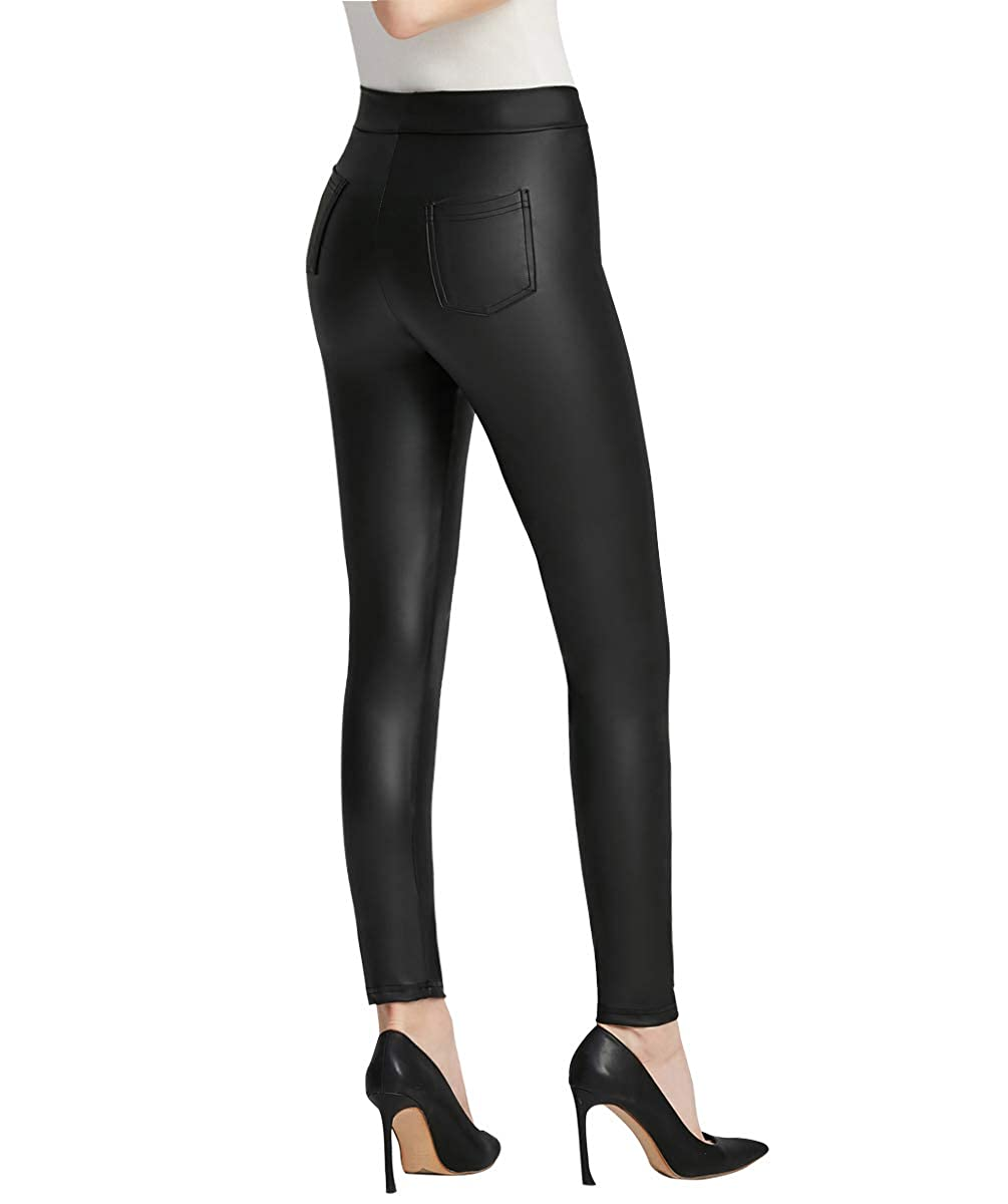 8e9a029864 Everbellus Women Sexy Faux Leather Leggings with Pockets Skinny Leather  Pants Black at Amazon Women's Clothing store: