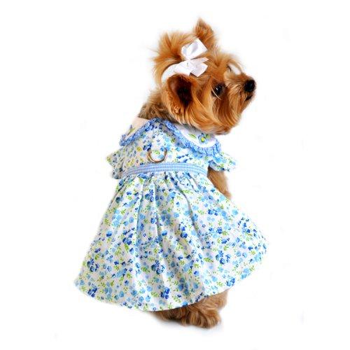 Doggie Design Blue Belle Floral and Gingham Dog Dress Small