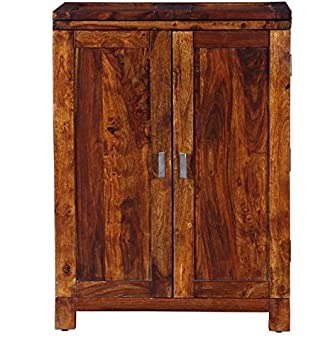 Siramika Solid Wood Bar Unit in Wine Cabinet Honey Oak Finish Sheesham Wood by Made Wood