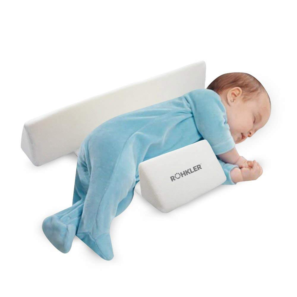 Newborn Baby Side Positioning Sleep Wedge Pillow for Boys and Girls May Prevent Flat Head and Acid Reflux by ROHKLER (Image #1)