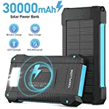 Solar Power Bank 30000 mAh, Wireless Portable Charger Solar Panel External Battery Type-C 5V Dual USB with LED Flashlight (Waterproof, Dustproof, Shockproof) Compatible with iOS & Android (Black)