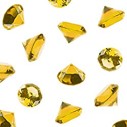 Super Z Outlet Acrylic Color Faux Round Diamond Crystals Treasure Gems for Table Scatters, Vase Fillers, Event, Wedding, Birthday Decoration Favor, Arts & Crafts (1 Pound, 240 Pieces) (Yellow)