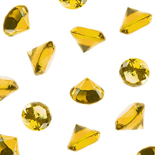 Acrylic Color Faux Round Diamond Crystals Treasure Gems for Table Scatters, Vase Fillers, Event, Wedding, Birthday Decoration Favor, Arts & Crafts (1 Pound, 240 Pieces) by Super Z Outlet (Yellow)