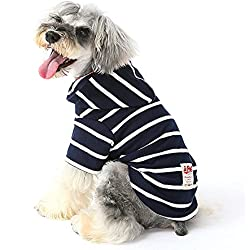 Ispet Pet Clothes for Dog Cat Hoodie Cotton Pet Coats Stripe Clothing Hoodies Coat Sweater Breathable for Small Dogs Puppy Teddy Poodle Chihuahua
