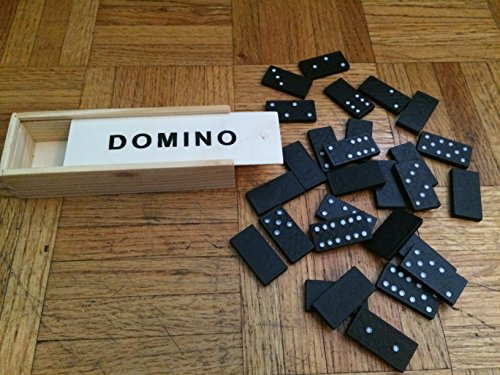 Domino Game set of 28 pieces of crafted hand painted wood with wood Storage Box.
