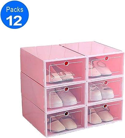 HXZB 12Pcs / Set Durable Cajas De Zapatos De Plástico, Cubierta del Tirón Espesado Transparente del Zapato del Cajón Caja Apilable De Almacenaje del Organizador Zapatero,Rosado,23.5X33.5X13CM: Amazon.es: Hogar