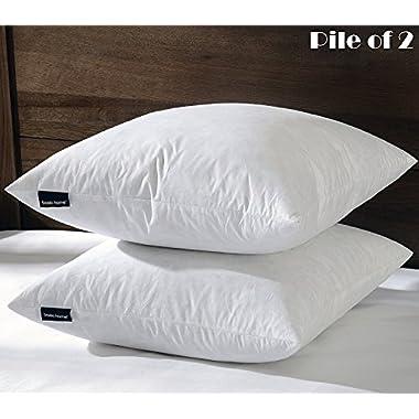 26 X26  Euro Pillow Insert, 95% Feather 5% Down, 100% Cotton Fabric, Set of 2, White, BASICHOME
