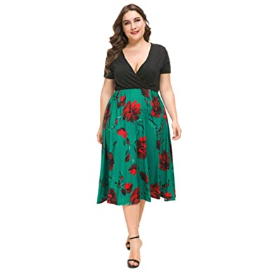 c33d1cba35e3 ONine Women's Plus Size Floral Print Midi Dress Casual V Neck Short Sleeve  Summer Swing Dress