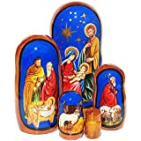 "GreatRussianGifts Nativity Jesus 5 Piece Russian Religious 4.5"" Christian Faith Babushka Nesting Doll Baptism Gift"