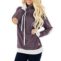 Franterd Women Autumn Pockets Blouse Cowl Neck Tunic Sweatshirt Sports Loose Patch Shirt