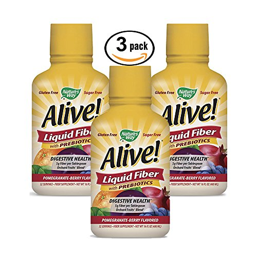 3 Pack, Pomegranate Berry Flavor Alive Liquid Fiber Orchard Fruits Blend, 36 total oz, three 12 oz bottles