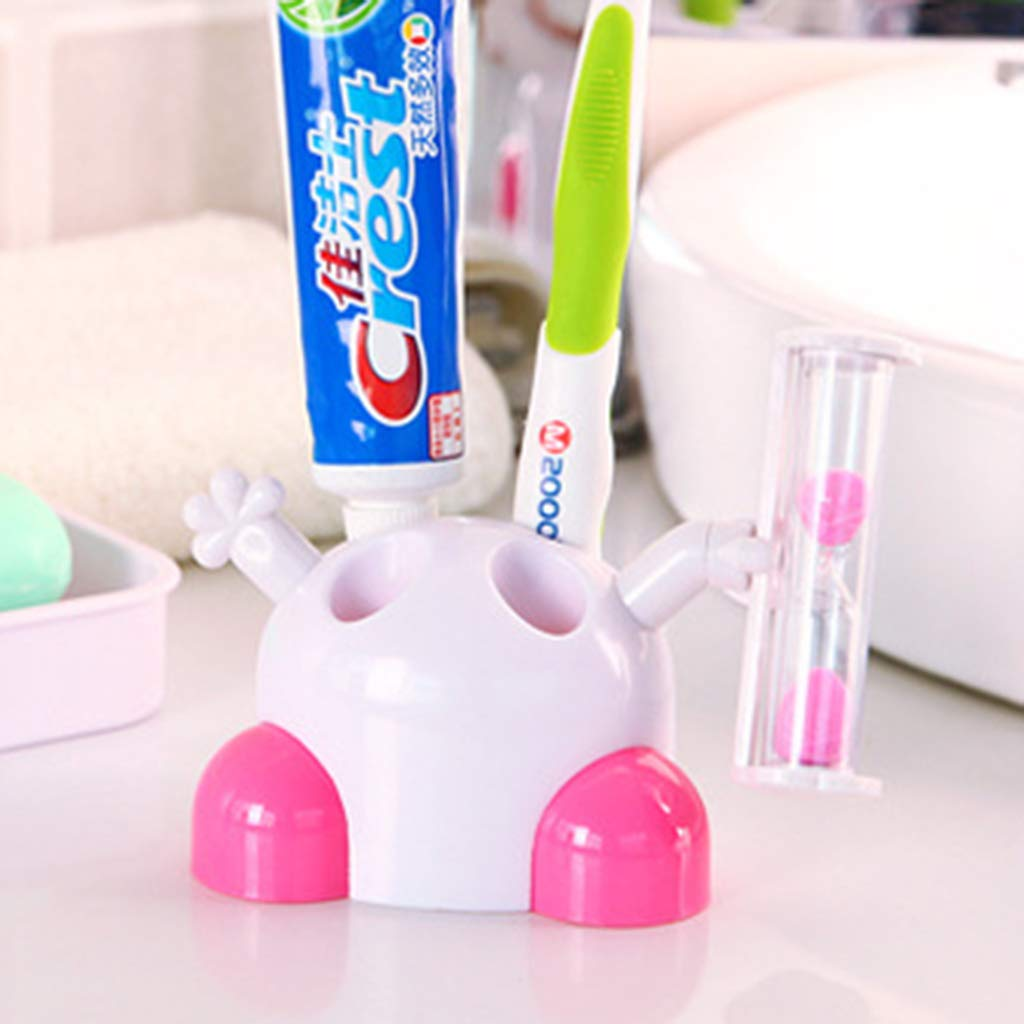Thobu Cartoon Hourglass Toothbrush Holder Children Brushing Timer 3 Minutes Time Creative Ornaments Bathroom Decor Blue