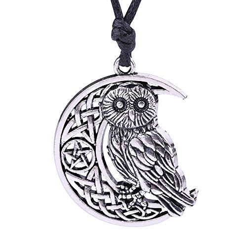 My Shape Owl Pendant Crescent Moon Pendant Necklace with Celtic Knot&Pentagram, Goddness Symbol Necklace for -