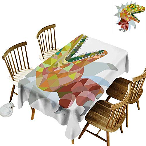 (Reptiles Easy to care for leakproof and durable long tablecloths Outdoor picnic Multi Colored Mosaic Wild Trex Illustration Opens Mouth Jurassic Pixel Dinosaur Home Decor W70 x L120 Inch Multi)