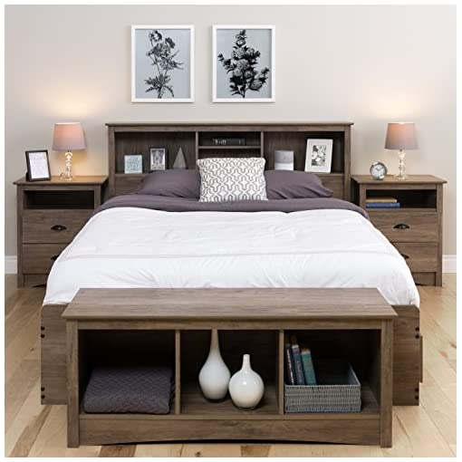 Bedroom Prepac Queen Bookcase Headboard, Drifted Gray farmhouse headboards