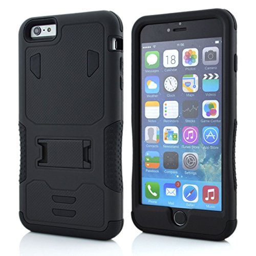 iPhone 6S Plus Case, iPhone 6 Plus, Lantier cool Série, 3 en 1 combo hybride Defender High Impact Body Cover Case Armure avec béquille pour Apple iphone 6 / 6S Plus Noir + Noir