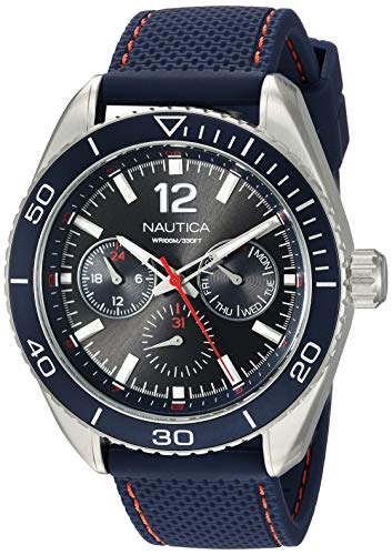 Nautica Men's 'Key Biscayne' Quartz Stainless Steel and Nylon Casual Watch, Color:Blue (Model: NAPKBN003)