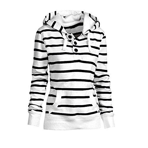 Hooded Sweater Pattern (Zjzhao shop Women Striped Hoodie Sweater Pocket Blouse Hooded Pullover Sweatshirt Tops Shirt)