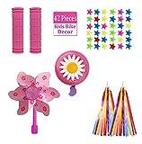 Laabeimat 42PCS Bike Accessories for Kids Girls Bike Streamers Decorations Including Pink Bike Handlebar Grips,Bell with Tassel Ribbo Bike Handlebar