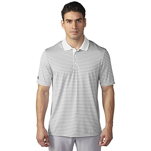 adidas Golf Men's Performance 3-Color Stripe Polo Shirt, White/Stone/Mineral Blue S, Small
