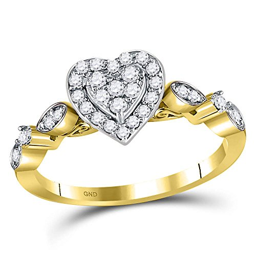 14kt Yellow Gold Womens Round Diamond Heart Cluster Ring 1/3 Cttw Ring Size 6.5