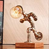 DGF Iron Art Table Lamp, Retro Cafe Bar Water Pipe Robot Table Lamp