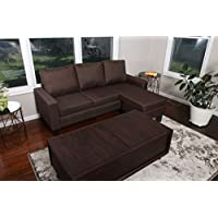 Large Brown Linen Modern Contemporary Upholstered Quality Adjustable Left or Right Sectional - 276 Brown 77 x 53