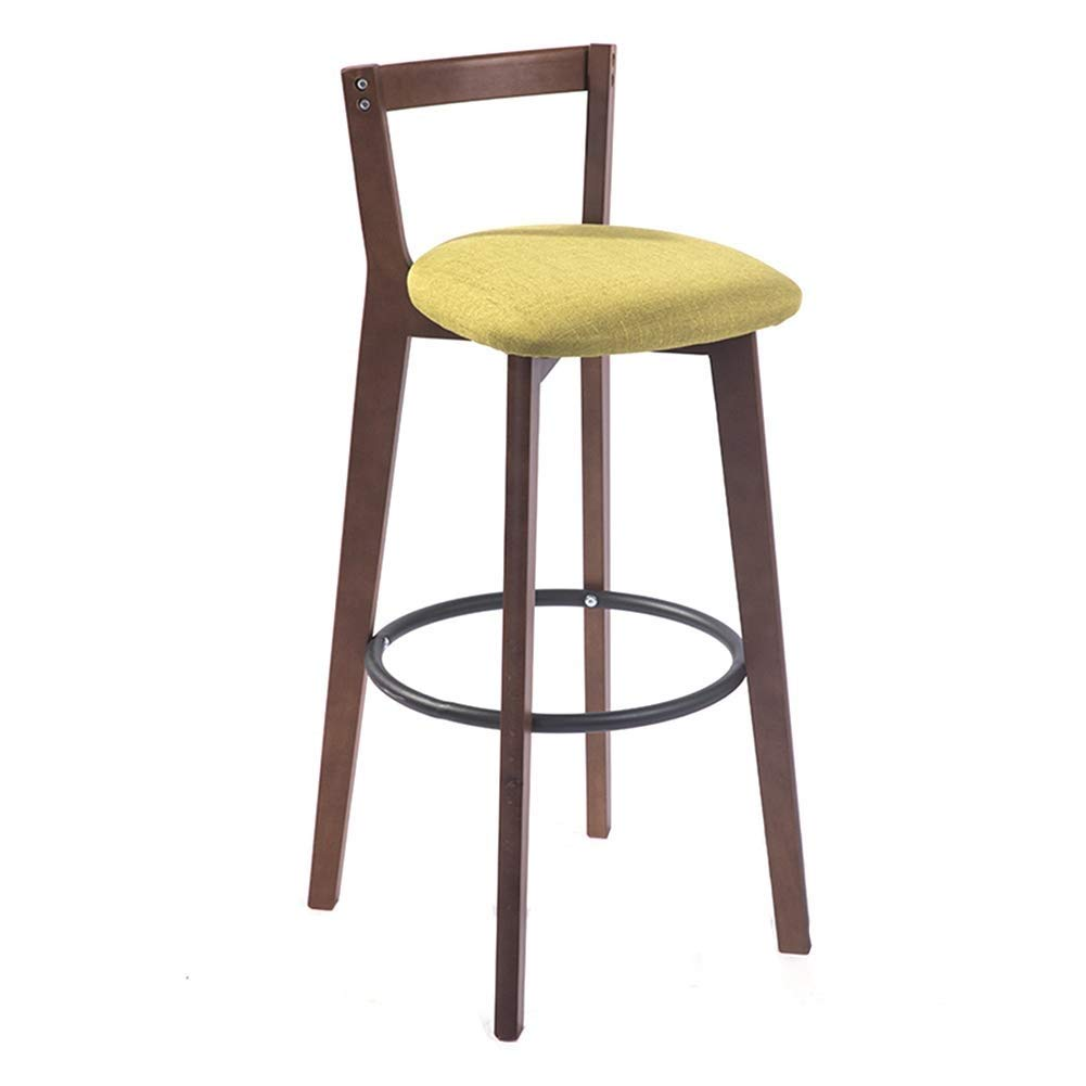 A 71cm Solid Wood Bar Stool, Nordic Simple Solid Wood High Stool Bar Stool Front Desk Retro American Restaurant High Stools Home Back Comfort Belt Cushion Soft and Sturdy (color   F, Size   62cm)