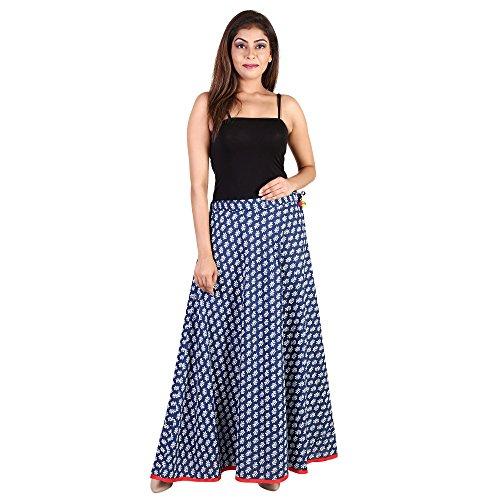 Indigo Print Skirt - Rangsthali cotton indigo print Designer long Skirt for women (Free Size) (Waistband: lace)