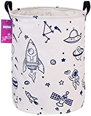 INGHUA Laundry Hamper Large Canvas Fabric Lightweight Storage Basket/Toy Organizer/Dirty Clothes Collapsible Waterproof for College Dorms, Boys and Girls Bedroom,Bathroom(Spaceships)