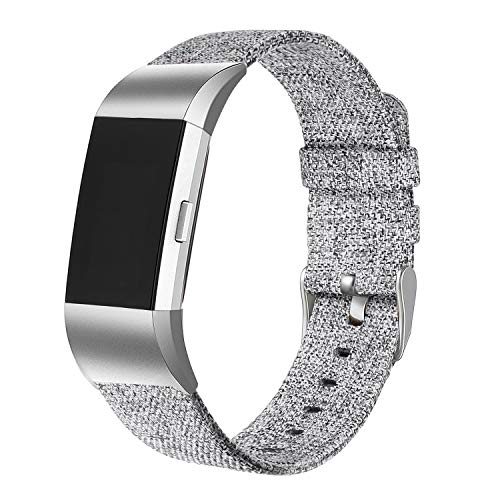 bayite Canvas Bands Compatible Fitbit Charge 2, Soft Classic Replacement Wristband Straps Women Men, Grey Small