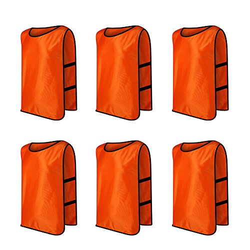 TOPTIE Training Vests, Football Jersey, Pinnies for Soccer Team, Multiple Colors and Quantities-Orange 6Pcs-Child