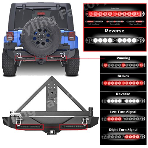 Restyling Factory Jeep Wrangler JK Rock Crawler Rear Bumper with Twin 3rd Brake Tire Carrier