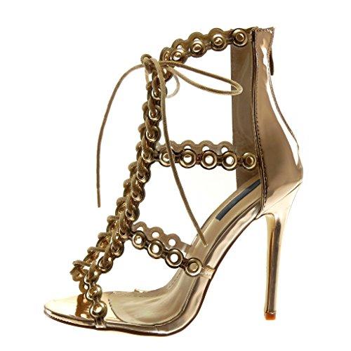 Transparent Toe Lacets Femme Escarpin Stiletto 5 cm Champagne Haut Perforée Mode Chaussure Sandale Peep Aiguille 11 Talon Angkorly qCzwU