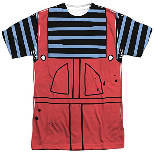 Dennis And Gnasher Costume (Dennis The Menace- Dennis Costume Tee T-Shirt Size L)