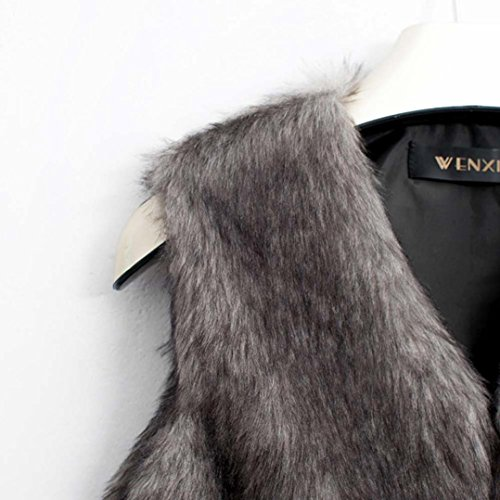 pelo sin chaqueta navideña chaleco piel Mujeres de largo abrigo Gris de faux Promoción ¡ chaleco mangas SHOBDW O4FxqRww