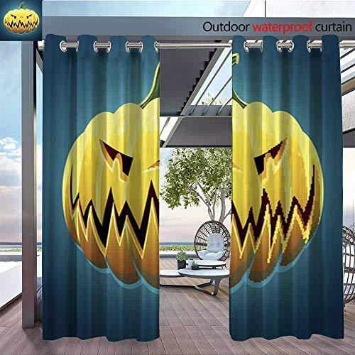 QianHe Fashions Drape Vector-Scary-Halloween-Pumpkin.jpg Outdoor Curtain Waterproof Rustproof Grommet Drape W120 x L108(305cmx274cm)