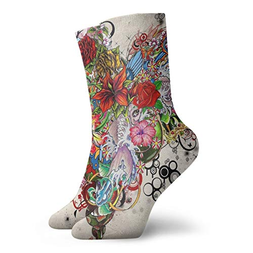 Cotton Crew Socks for Women&Men Compression Athletic Socks Heart Tattoo Dress Socks 11.8inch ()