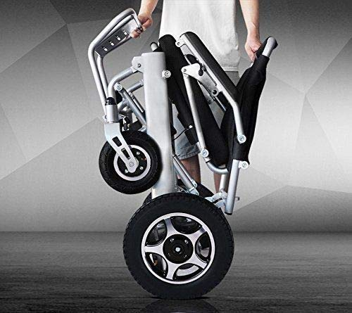 New Model 2019 Fold & Travel Lightweight Motorized Electric Power Wheelchair Scooter, Aviation Travel Safe Electric Wheelchair Heavy Duty Power Wheelchair