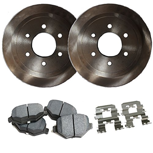 Detroit Axle - Complete Rear Brake Rotor Set & Brake Pads w/Clips
