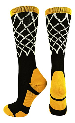 MadSportsStuff Crew Length Elite Basketball Socks with Net (Black/Gold, Large)