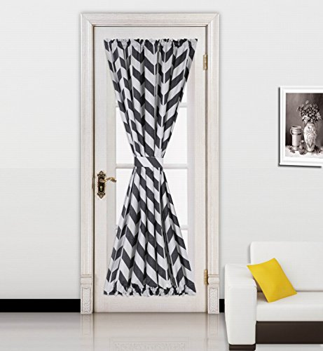 GorgeousHomeLinen (MEME) 1 Black White Zig-Zag Pattern French Door Foam Backing Insulated Thermal Blackout Two-Tone Rod Pocket Curtain Panel with Tieback 55