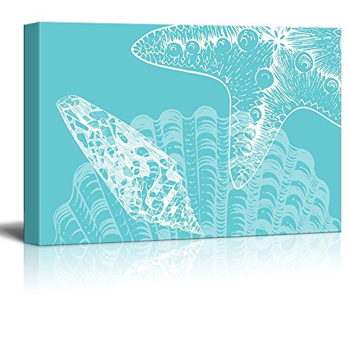 Wll Art Seashell and Starfish on Teal Ocean Theme Background and