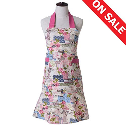 KINGO HOME Adjustable 100% Cotton Garden Cooking Women Kitchen Bib Apron, with Pockets, Cotton Canvans, Machine Washable