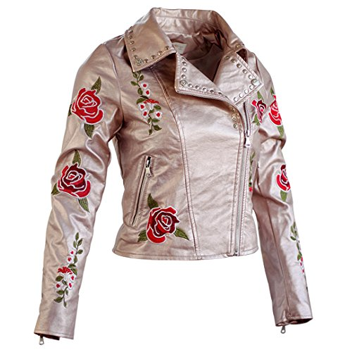 WAZDpuyer Women's Floral Embroidered Faux Leather Moto Jacket Coat Rose S - Embroidered Suede Leather Coat